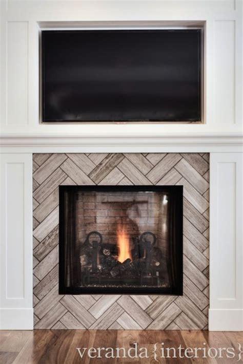 patterned fireplace tiles herringbone tile pattern on fireplace living room ideas