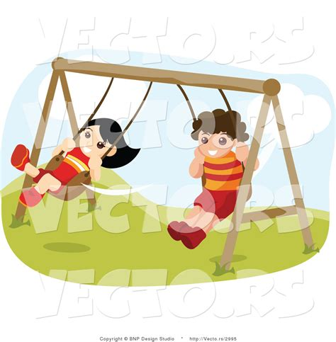 swing girl recess vector of happy boy and girl swinging on playground swings