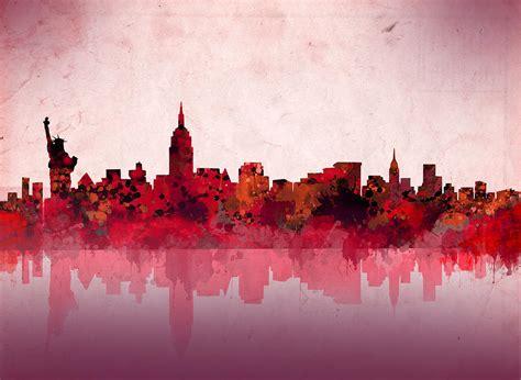 Duvet New York New York Skyline Red Painting By Bekim Art