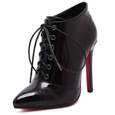 bottom boots for fashion pu black patent boots bottom boots high