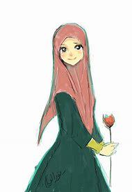 Hijab Muslim Girls Cartoon Drawing