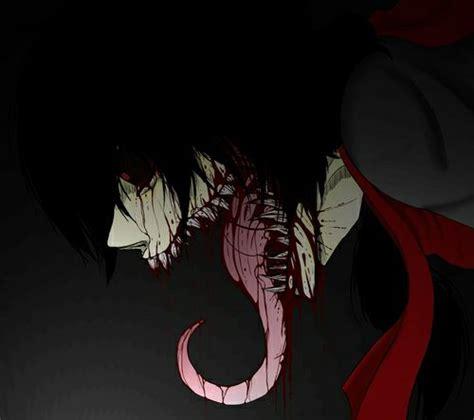 anime horror creepy anime moster scary bloody teeth evil