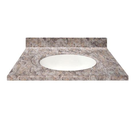 us marble 49 in cultured granite vanity top in fawn color with integral backsplash and white
