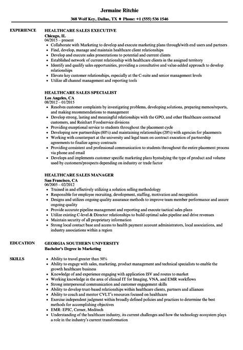 healthcare resume sles healthcare sales resume sles velvet