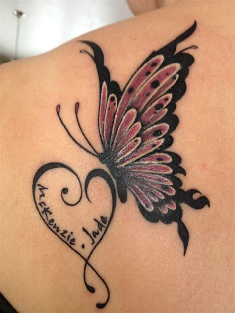 butterfly daughters name tattoos