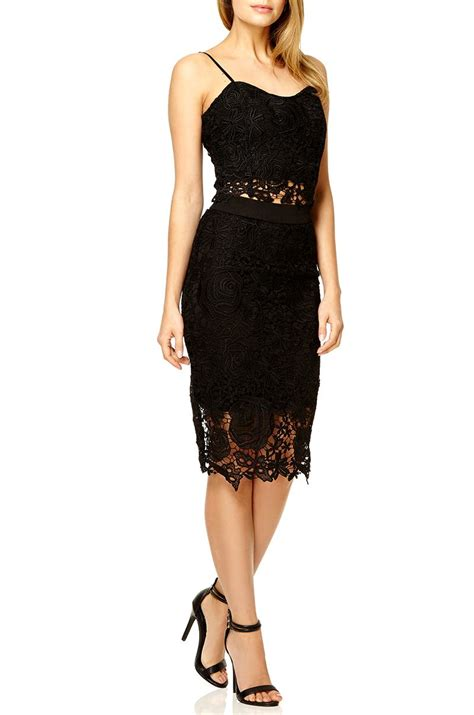 quiz black lace zip back midi skirt in black lyst