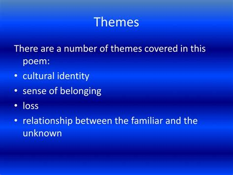 themes in an unknown girl ppt an unknown girl by moniza alvi powerpoint