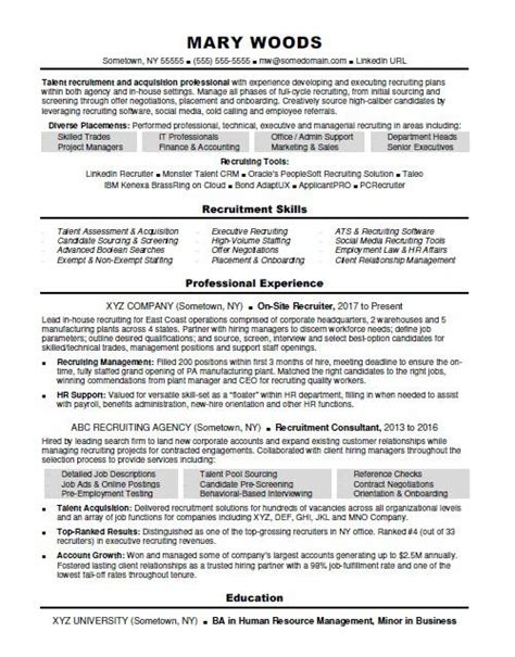 Agency Recruiter Sle Resume by Recruiter Resume Sle