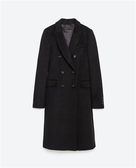 breasted lapel coat zara breasted lapel coat in black lyst