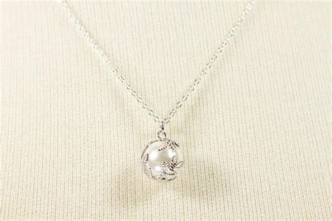 silver framed white color pearl necklace wedding jewelry bridal necklace bridesmaid