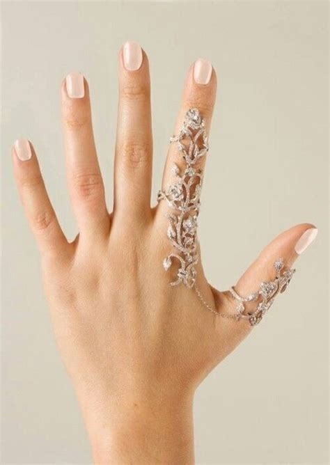 Crystal Leaf Double Linked Knuckle Ring