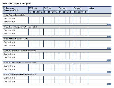 management calendar template resources project starter usaid