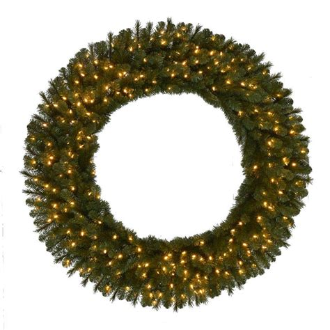 60 In Pre Lit Led Wesley Pine Artificial Christmas Wreath Outdoor Lighted Wreaths