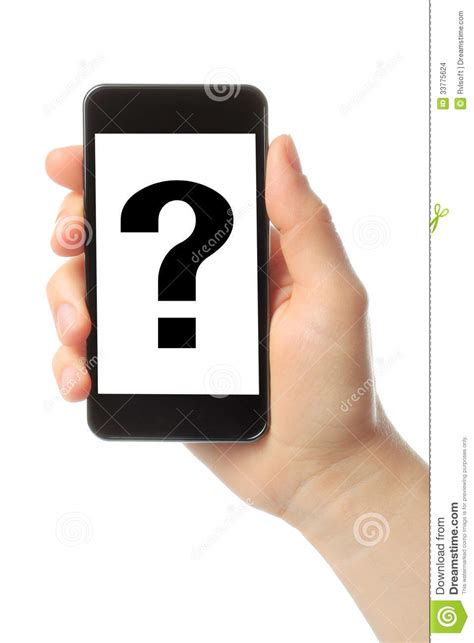 Or Question On Phone Holds Smart Phone With Question Stock Photo Image 33775624
