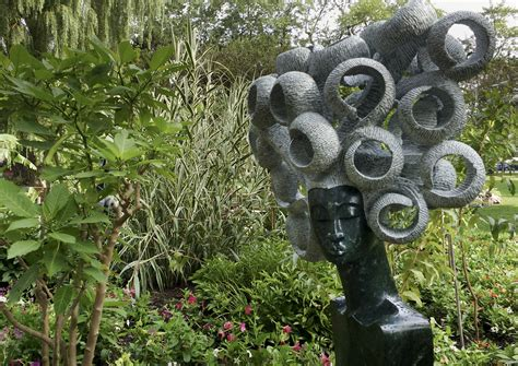 outdoor art exhibit features hand chiselled works