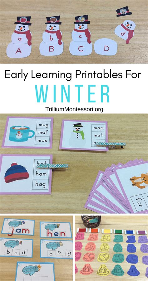 montessori printables preschool montessori and preschool printables for winter trillium