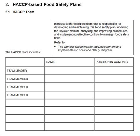 haccp plan template free haccp plan template 6 free word pdf documents