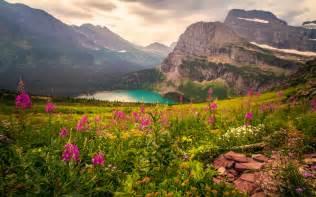Landscape mountains mountain lake flowers beautiful hd wallpaper 07134