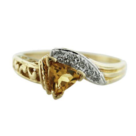 14k yellow gold trillion cut citrine ring boca raton