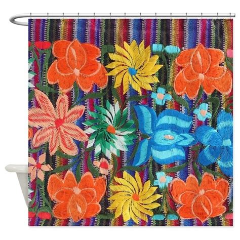 mexican curtains mexican flower embroidery shower curtain by listing store