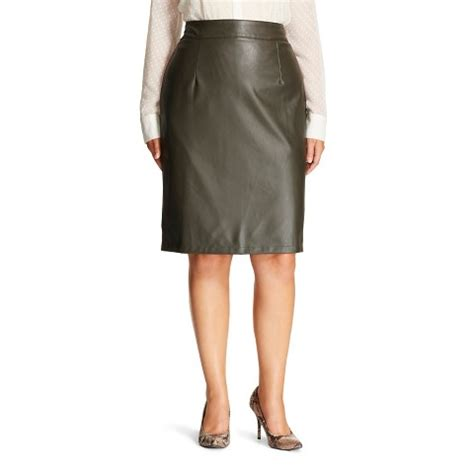 faux leather pencil skirt green