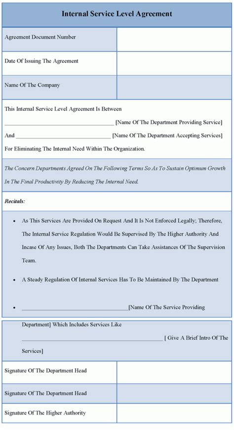 agreement template for internal service level sle of