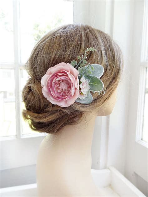 Hair Pieces Green bridal hair pink flower hair clip green by