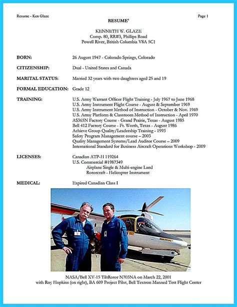 Airline Resume Format by Successful Low Time Airline Pilot Resume