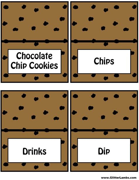 chip template chocolate chip cooke printable template