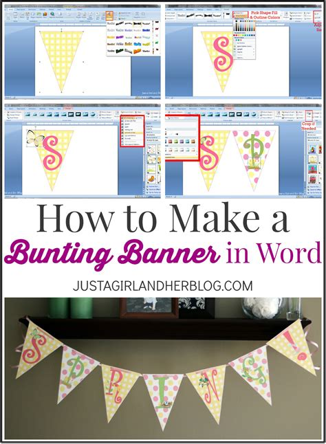 design banner using microsoft word how to make a bunting banner in word with clip art tips