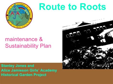 Political Think Tank Mba Route by Maintenance And Sustainability Plan Route To Roots