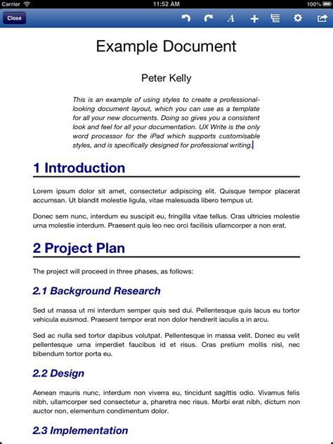 document template exle document created from a template ux write