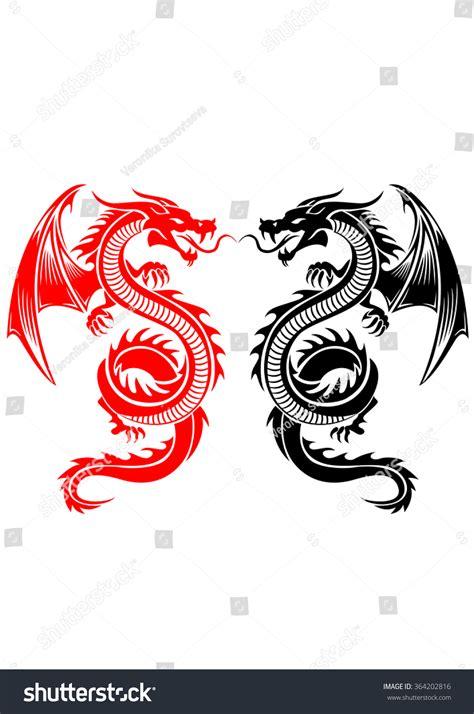 tribal tattoo dragon vector illustration black red tribal dragon tattoo vector stock vector