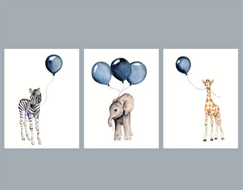 Zebra Print Stickers For Walls nursery wall art set of three navy nursery decor baby animal