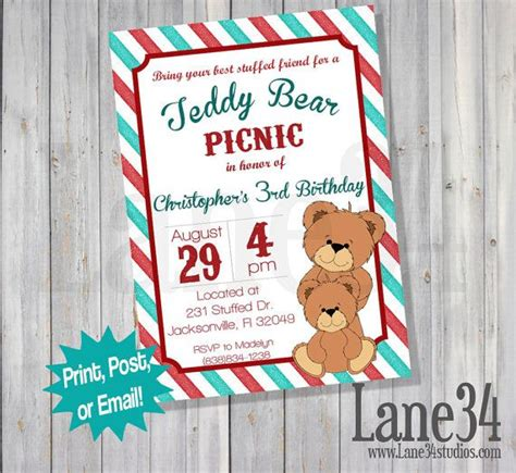 teddy picnic invitation template teddy picnic birthday invitation printable diy by