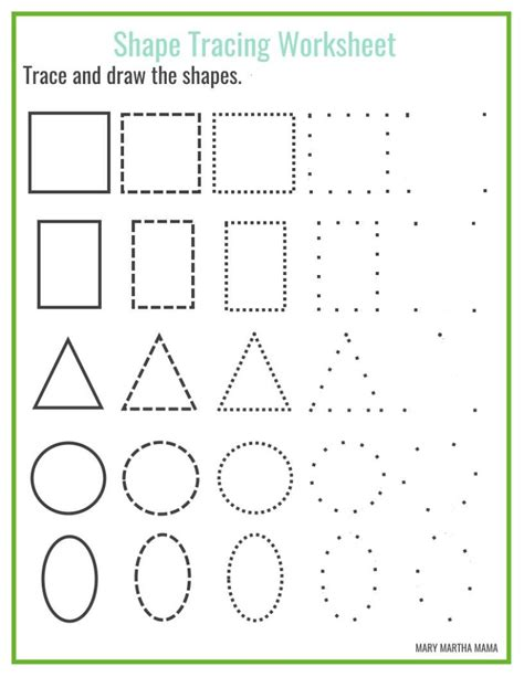 printable tracing shapes worksheets shape tracing mary martha mama