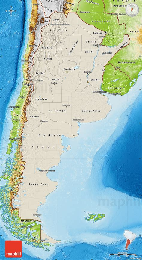 argentina physical map shaded relief map of argentina physical outside