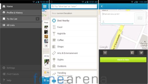 foursquare for android foursquare for android updated with new check in screen easier explore and more