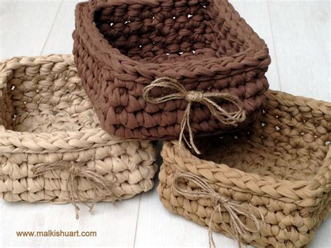 crochet basket pattern with t shirt yarn crochet t shirt yarn square basket baskets pinterest