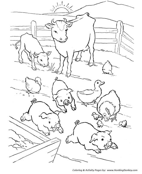 barn yard pigs coloring pages printable farm animal