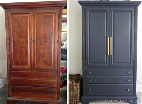 painted armoire furniture my armoire makeover painting it navy emily a clark