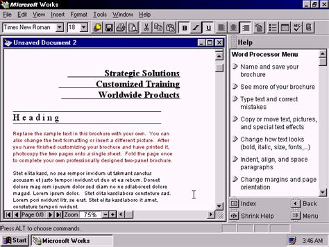 Work Microsoft Winworld Microsoft Works 4 5