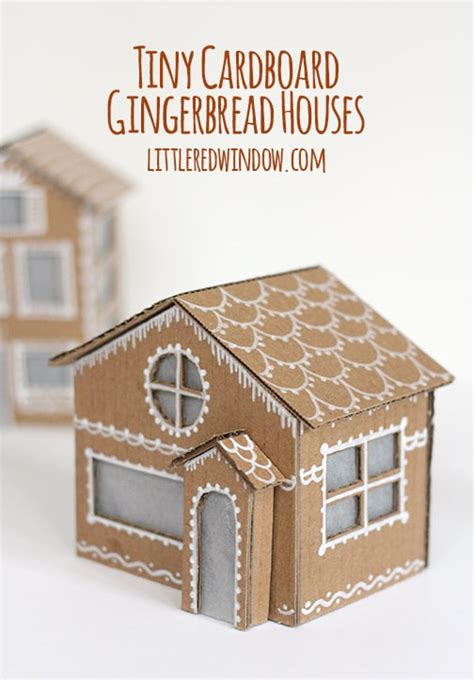How To Make A Small Paper House - tiny cardboard gingerbread houses window