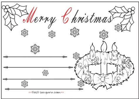 printable christmas cards you can color kids christmas advent wreath candles cards to color in
