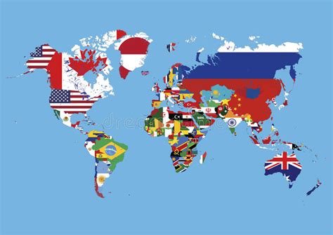 flags of the world without names world map colored in countries flags no names stock