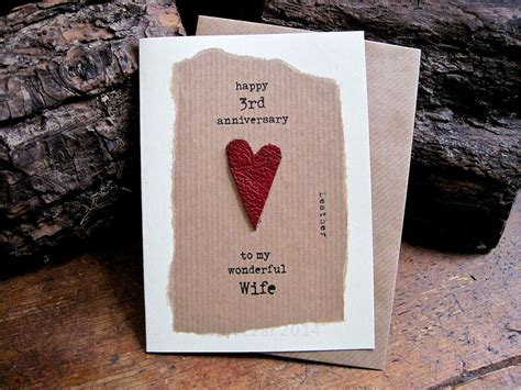 3rd Wedding Anniversary Card Leather by 3rd Wedding Anniversary Card Leather Traditional Symbol