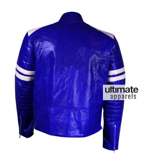 blue motorbike jacket men blue leather motorcycle jacket with white stripes