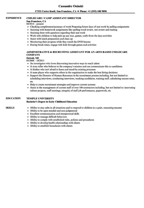 Child Care Assistant Resume