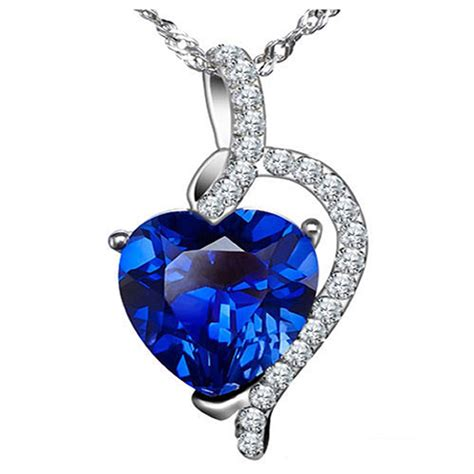 Ruby 4 10 Ct 4 10 ct simulated blue sapphire pendant necklace 925