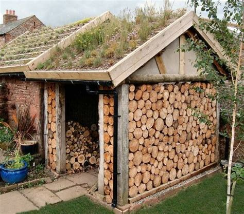 wood shed living roof firewood storage ideas pinterest